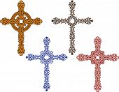stock photo of christian cross  - Vector Christian Crosses Ornamental - JPG