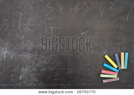School board with  colour chalk