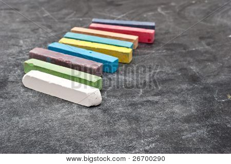 School board with color chalk