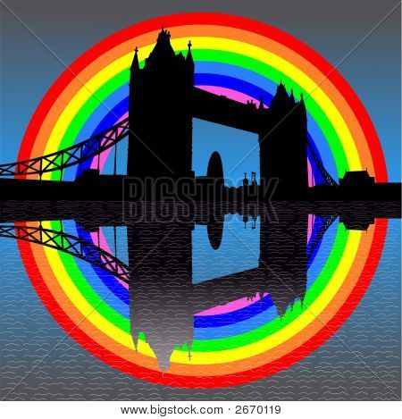 Tower Bridge With Rainbow