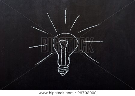 Light bulb drawn on blackboard