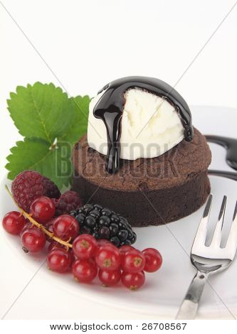 Chocolate soufflecake on white background