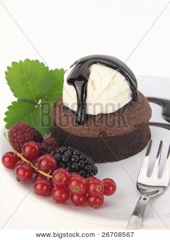 Chocolate soufflecake on white background