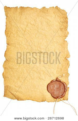 old paper with a wax seal on a white background