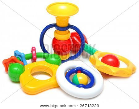 beautiful children's toys isolated on a white background