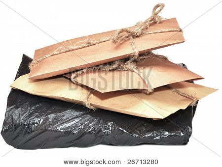 brown paper parcels ready on isolated white background