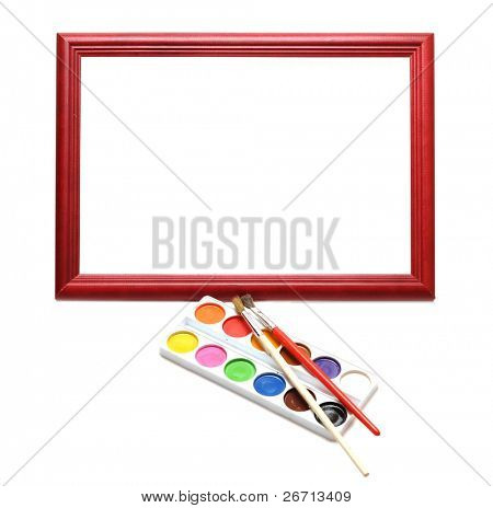 paintbrush, wood frame and paint with space for your own text