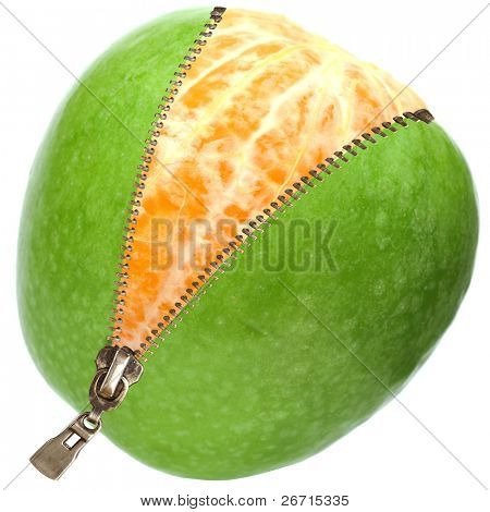 orange  inside apple  with zipper isolated on white