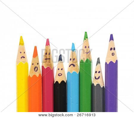 Happy Group of Bleistift Gesichter als soziales Netzwerk, isolated on white