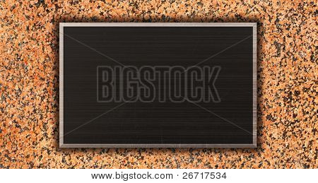 Metal Plate background from brushed silver aluminum on granite