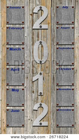 blank 2012 calendar over old wooden planks