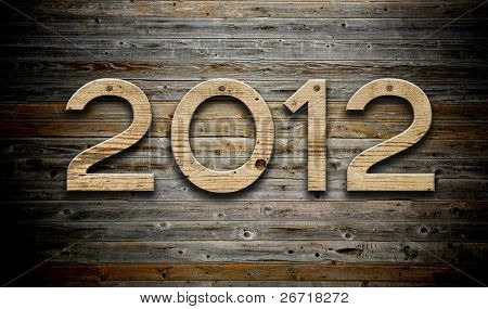 """2012"" number on old wood background"