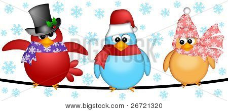 Three Christmas Birds On A Wire Illustration