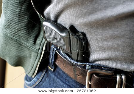 Pistol Hidden In Belt