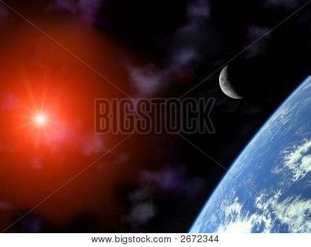 Earth With Crescent Moon And Sun Over Universe