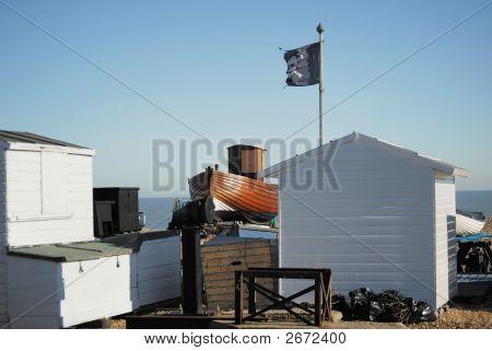 Beach Hut And Boat