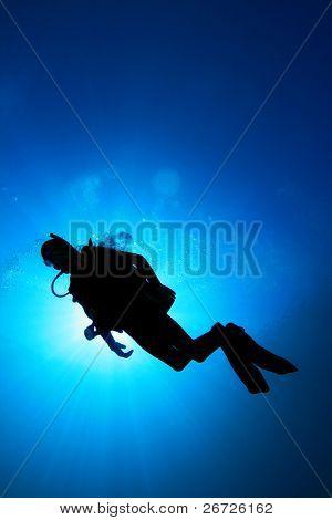Underwater image of Scuba Diver in the ocean, silhouette against sun