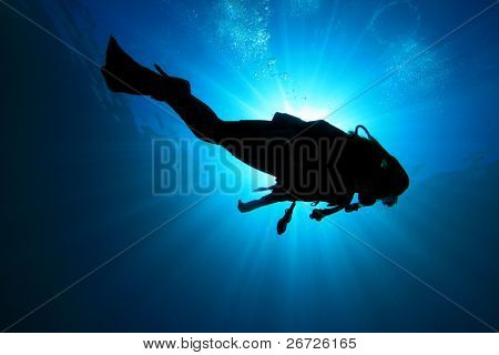 Underwater image of Scuba Diver in the ocean, silhouette against sun