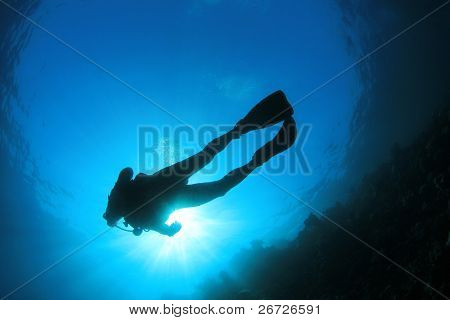 Scuba Diver Silhouette and Sunburst