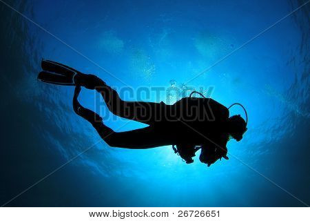 Scuba Diver silhouette against sunburst