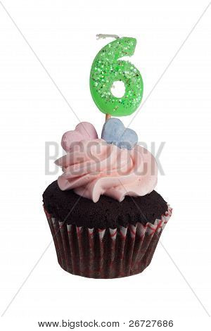 Mini Cupcake With Number Six Candle