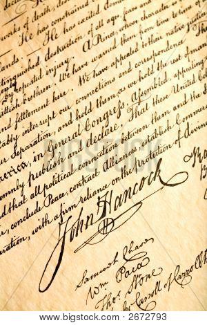 John Hancock en la declaración de la independencia