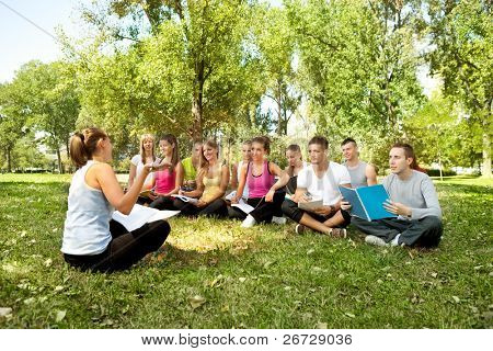 students having lesson outdoor