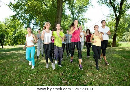 runners, jogging group in park