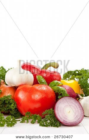 fresh vegetable with leaves,  isolated on white background