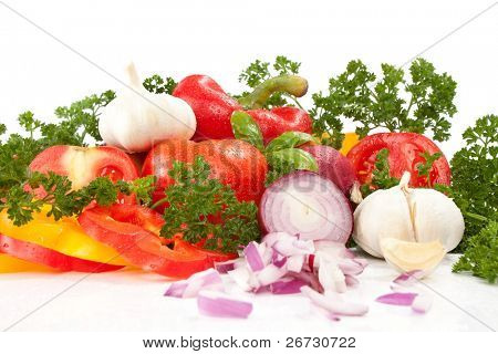 Group of different vegetables, isolated on white background