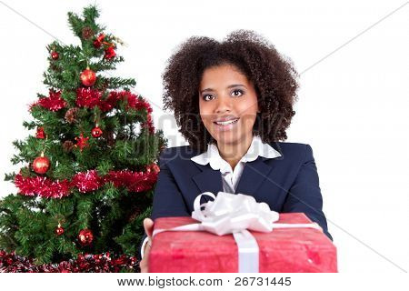 young smiling woman giving present, isolated on white background