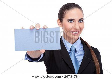 smiling businesswoman shoving business card, isolated on white background