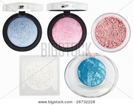 Five multicolored eye shadows over white with clipping paths