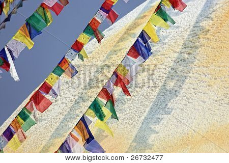 Colored flags in front of Boudha Nath (Bodhnath) stupa in kathmandu, Nepal