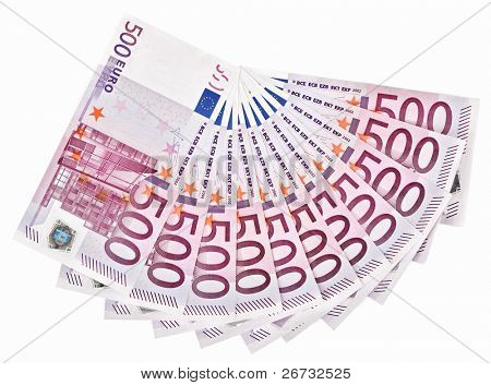 500 Euro bank notes fanned out on a white background