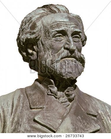 Giuseppe Verdi, famous italian opera composer; isolated on white from bronze bust imagine
