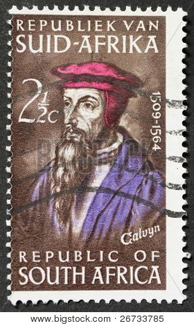 SOUTH AFRICA - CIRCA 1964: a stamp printed in South Africa celebrates the fourth centenary of John Calvyn's death, famous theologian during the Protestant Reformation. South Africa, circa 1964