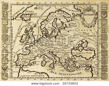 Map of Europe framed by national crests. May be dated to the beginning of XVIII sec.