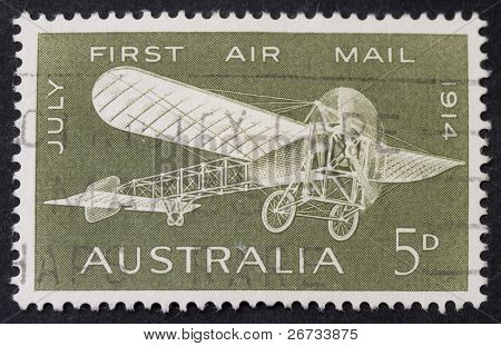 AUSTRALIA - CIRCA 1964: a stamp printed in Australia shows image of an old  screw plane. Australia, circa 1964