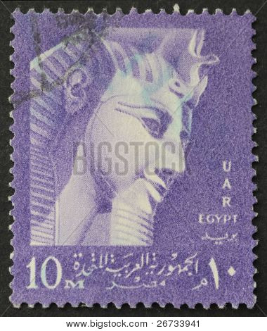 EGYPT - CIRCA 1959: a stamp show image of Ramses II, the Great Pharaoh who ruled Egypt from 1279 BC to 1213 BC. Egypt, circa 1959