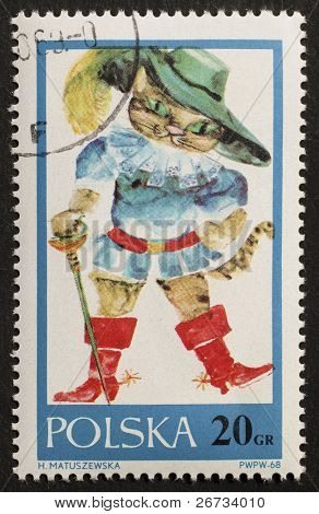 POLAND - CIRCA 1968: a stamp printed in Poland shows illustration of  Puss in Boots, the cat in the fairy tale written by Charles Perrault. Poland, circa 1968