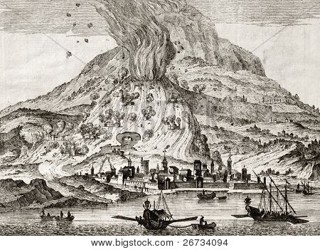 Antique illustration of Catania, Sicily, and Etna volcano erupting. May be dated to the 18th c.