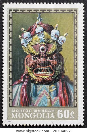 MONGOLIA - CIRCA 1971: a stamp printed in Mongolia shows image of a Buddhist ritual mask, Mongolia, circa 1971