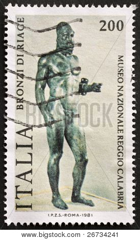 ITALY - CIRCA 1981: a stamp printed in Italy shows an image of Riace Bronze one of the couple of famous full-size Greek statues of nude bearded warriors. Italy, circa 1981