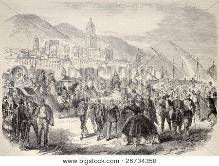 Old illustration shows image of arrival of wounded spanish soldiers in Malaga. Original from sketch of  A. Bertin and design of Janet-Lange, published on L'Illustration, Journal Universel, Paris, 1860