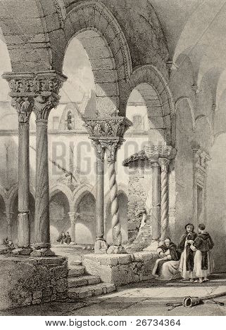 "Cloister of San Domenico church in Palermo, Italy. Original by Leitch and La Reux. Published in ""The Shores and Islands of Mediterranean"", Fisher, Sons & Co. of London and Paris, c. 1840"