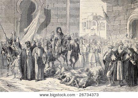 "Antique illustration of Dosseh ceremony, procession on living bodies. Original, from a design of   Bida and Janet-Lange, was  published on ""L'Illustration, Journal Universel"", Paris, 1860"
