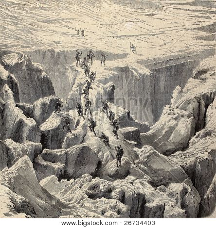 Antique illustration of Monte Bianco climbing. Original was engraved from a drawing of Rouargue after photo of M. Bisson and was published on â??L'Illustration, Journal Universelâ?, Paris, 1860