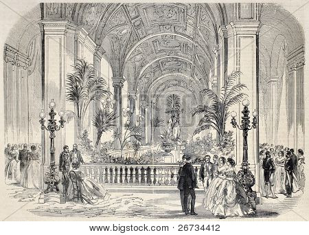 Antique illustrtation of tropical garden at Hotel de Ville interior, Paris. Original, from drawing of G. Durand, was  published on â??L'Illustration, Journal Universelâ?, Paris, 1860