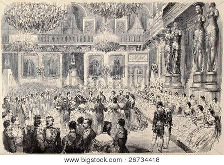 Antique illustration of Grand Bal in Tuileries Palace. Original, after drawing of G. Durand, was  published on â??L'Illustration, Journal Universelâ?, Paris, 1860